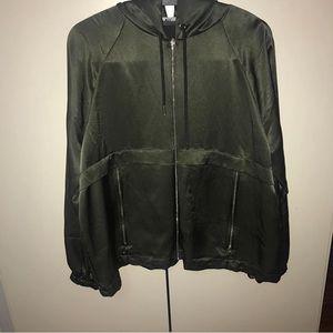 ZARA Olive Green silk satin jacket w/ gold zippers